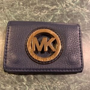 Michael Kors Small Navy Blue Button Card Holder